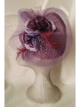 Headdress with base of sinamay in purple color