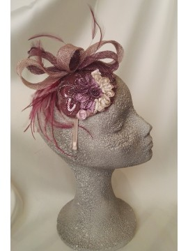 Sinamay headdress in mauve and purple shades